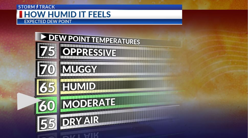 Expect less humid air and more comfortable conditions for several days