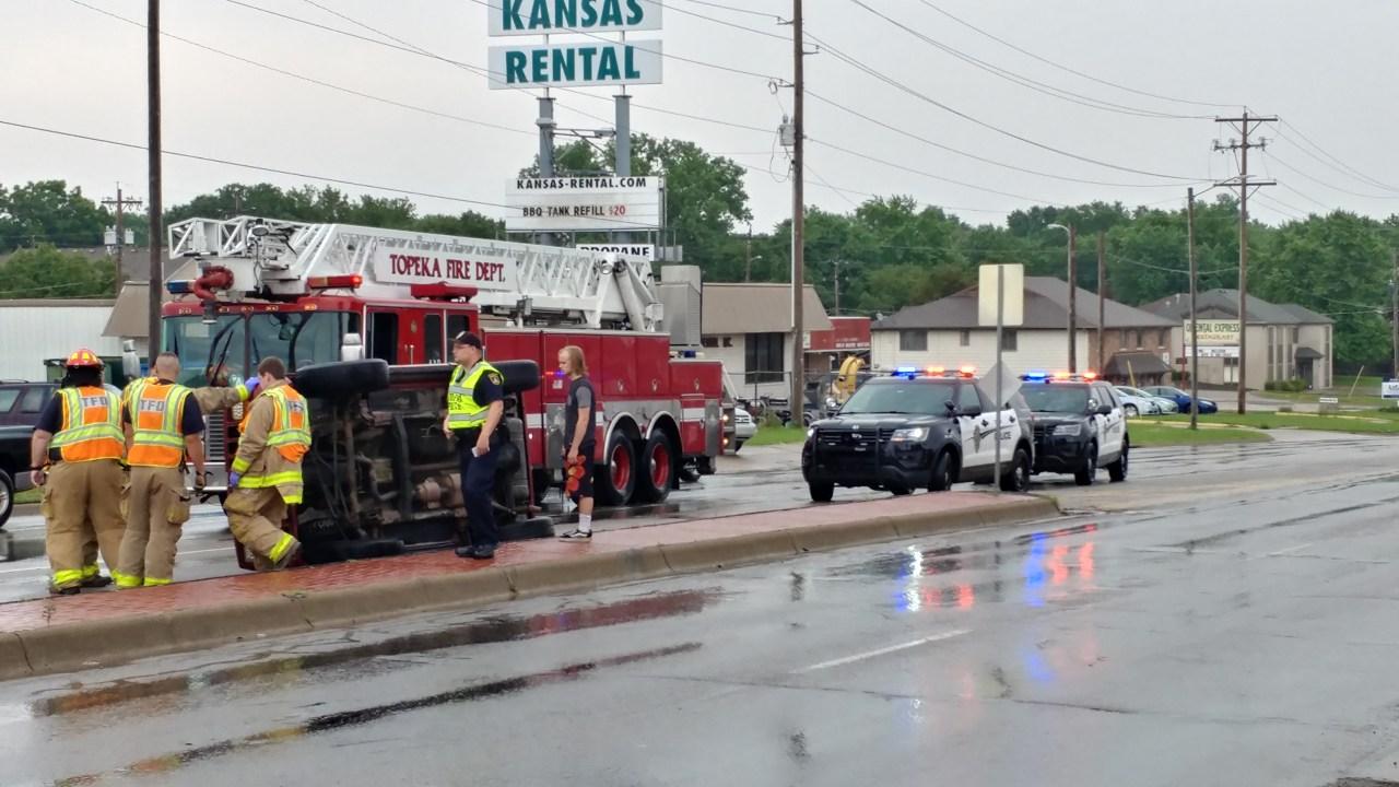 Car rolls over median in Topeka crash - KSNT News thumbnail