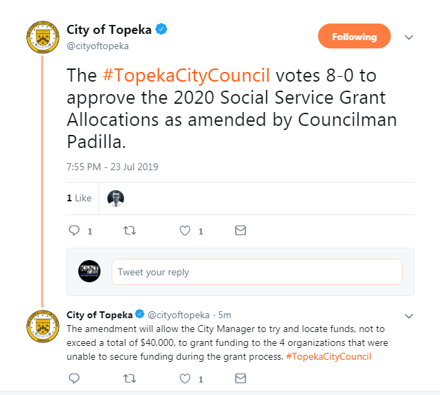 Topeka City Council votes on 2020 social service grant applications
