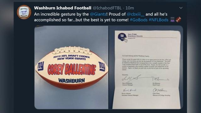 New York Giants gift Washburn with Corey Ballentine game ball