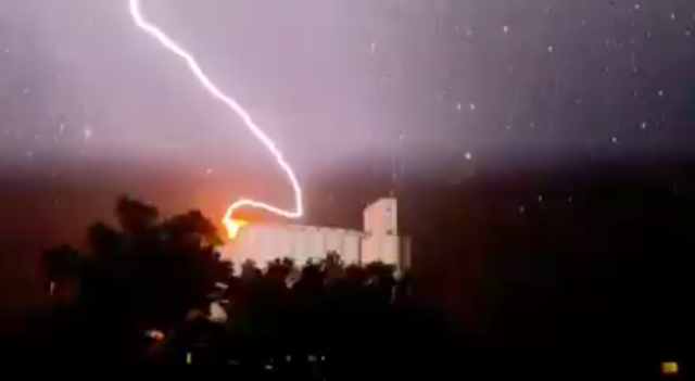 WATCH: Lightning strikes grain elevator in Western Kansas