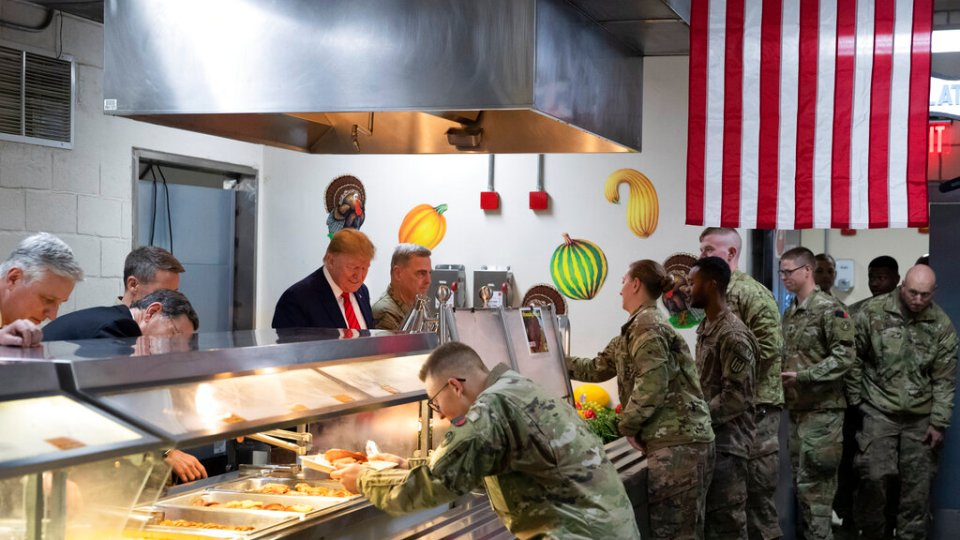 Image result for trump in afghanistan serving thanksgiving dinner