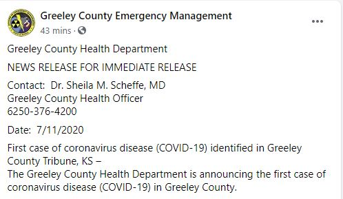 Kansas's least populated county confirms first coronavirus case